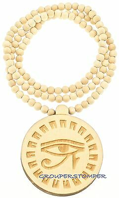 "Eye Of Horus New Egyptian Wood Pendant With 36"" Beaded Necklace Wadjet Luck"
