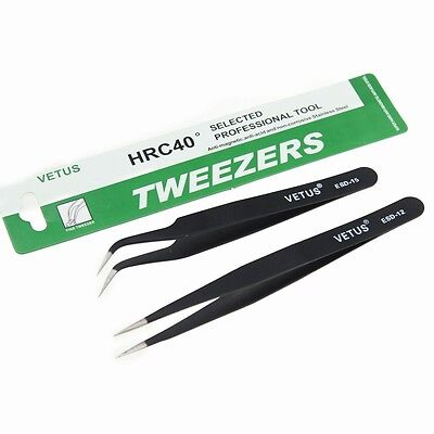 2 Pcs Eyelash Extension Tweezers Straight & Curved Black Tweezer VETUS Tool