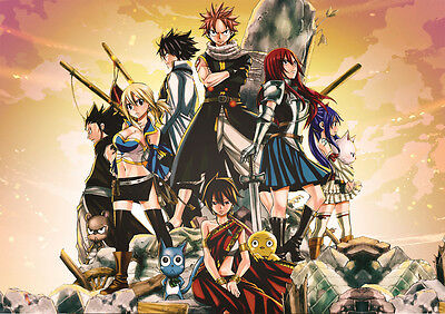 Sticker Autocollant Poster A4 Manga Fairy Tail.natsu Grey Lucy Erza Guilde F.t