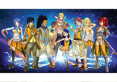 Sticker Autocollant Poster A4 Manga Fairy Tail.natsu Grey Lucy Erza Guilde F.t 8