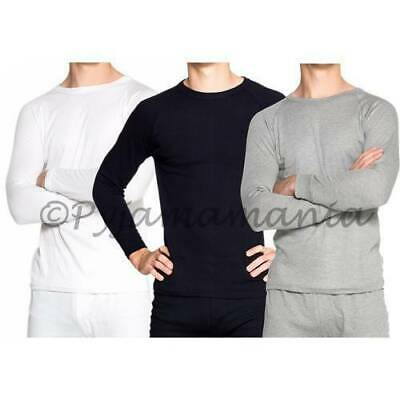 3 Pack Mens Cotton Thermal Underwear Long Sleeve Tops Black Grey White