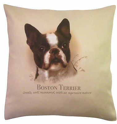 Boston Terrier HR Cotton Cushion Cover - Choose Cream or White Cover - Gift Item