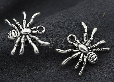 10/40/200pcs Antique Silver Lovely spider Jewelry Finding Charms Pendant 19x14mm