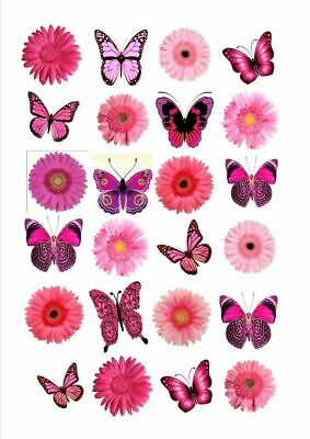 24 X Pink Flower Butterfly Edible Cupcake Toppers Cake Rice Paper Fb3