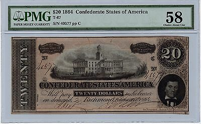 1864 $20 PMG Confederate Paper Note CHOICE AU-58 CIVIL WAR CSA T-67 Gorgeous!