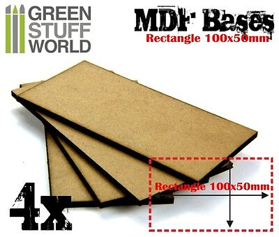 4x MDF Bases - Rectangle 100x50mm - Thickness 3mm Basing Laser Wargames Chariot