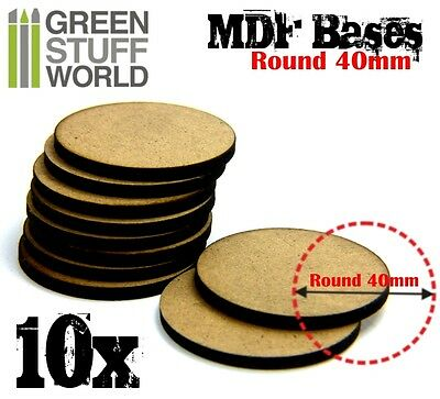 10x MDF Bases - Round 40mm - Thickness 3mm Basing Laser Cut Wargames Miniatures