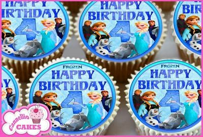 24 X Frozen 4Th Birthday Edible Cupcake Toppers Cake Rice Wafer Paper 8913