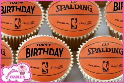 24 X Mixed Birthday Basketball Edible Cupcake Toppers Rice Cake Paper 8667