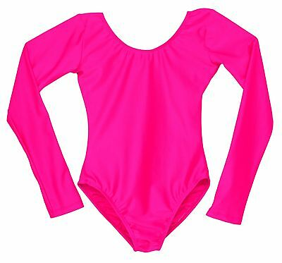Child's Hot Pink Scoop Neck Long Sleeve Leotard Bright Girls