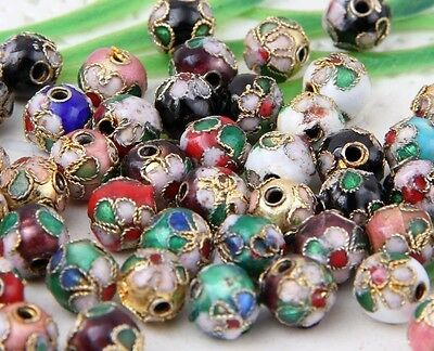 Wholesale 100Pcs Mixed Cloisonne Round Spacer Beads 6、8mm