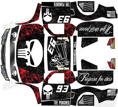 """Losi 5Ive T 4Wd Truck Wrap Graphic Decal Sticker Kit """"punisher"""" - Pick Color!"""