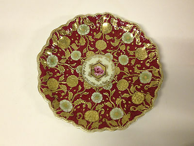 Antique Japanese Unmarked Nippon Porcelain Charger w/ Red & Gold Flower Dec.