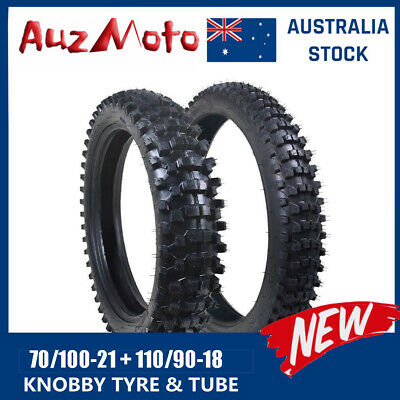 "Knobby Tyre + Tube 80/100-21"" Front + 90/100-18 Inch Rear Dirt Off Road Pit Bike"