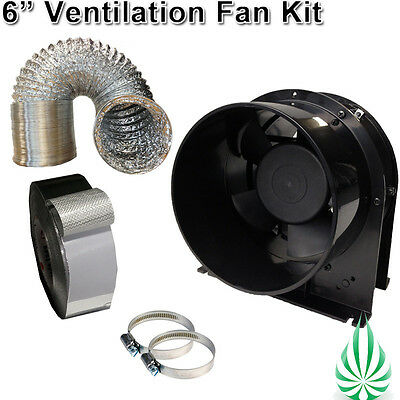 """6""""/150mm HYDROPONICS AXIAL VENT FAN 6""""DUCTING HOSE CLAMP TAPE VENTILATION KIT"""