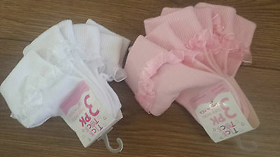 Tick Tock Pack Of 3 Baby Girls Pretty Pink/White Frilly Socks - 0-0, 0-2.5,3-5.5