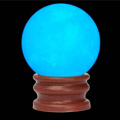 35MM Blue Luminous Glow In Dark Stone Quartz Crystal Sphere Ball w/ Base Stand