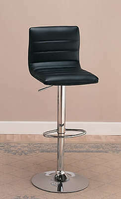 Black and Chrome Adjustable Swivel Bar Stool Chair by Coaster 120344 - Set of 2