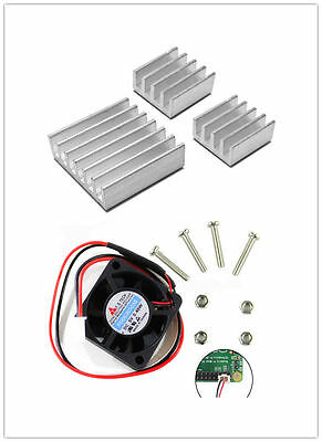 New Fan + 3pcs Adhesive Aluminum Heatsink Kit for Raspberry PI