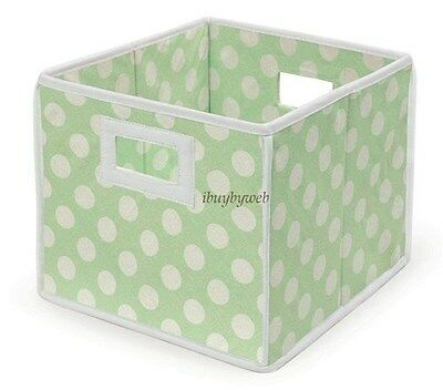 GREEN POLKA DOT Nursery Basket/Storage Cube Set Of 2