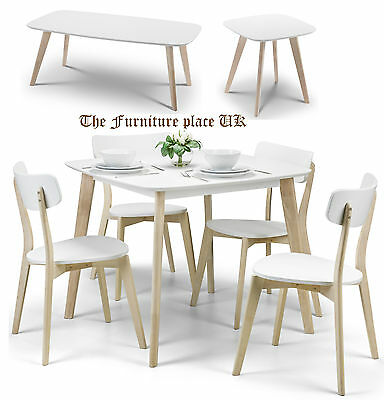 Casa Dining Set in White and Limed Oak Finish also Lamp Table  Coffee Table