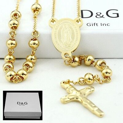 "DG 25"" Stainless Steel-Gold Beaded Rosary VIRGIN MARY,JESUS CROSS Necklace + BOX"