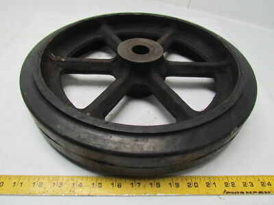 """16""""X3"""" Mold on Smooth Rubber Spoked Cast Iron Wheel 1-1/4""""Bore Roller Bearing"""