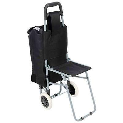 Trolley Travel Bag, Rolling Wheeled Shopping Grocery Cart with Folding Chair