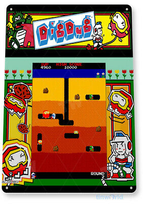 TIN SIGN Dig-Dug Arcade Shop Game Room Art Marquee Console Metal Décor A835