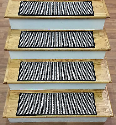 """Rug Depot Set of 13 Casual Striped Carpet Stair Treads 28"""" x 9"""" Black Wool"""