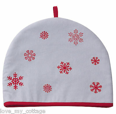 Red Dove Grey Christmas Embroidered Snowflake Tea Cosy Vintage Style GIFT