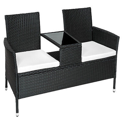 Poly rattan bench with glass table garden furniture 2 seats wicker patio black