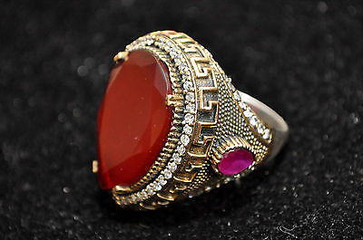 Antique Large Sterling Silver & Brass Carnelian & Semi-Precious Stones Ring