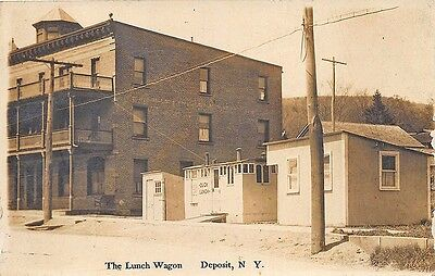 """Deposit NY """"The Lunch Wagon"""" Early Diner Street View Real Photo Postcard"""