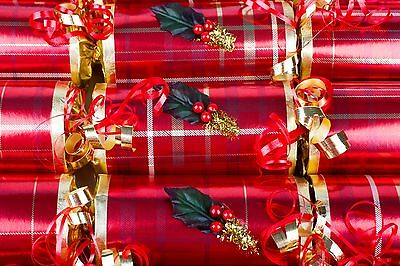 Luxury Christmas Crackers Handmade Tartan Red And Green