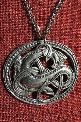 Celtic Sea Serpent Monster Kelpie Creature Knot Silver Pewter Pendant Necklace