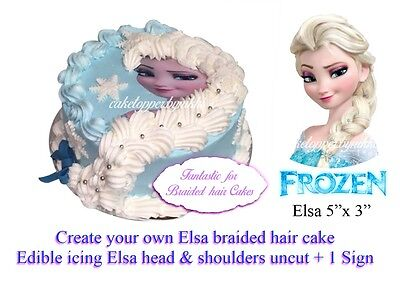 Edible FROZEN Elsa Face Head & shoulders Braided Hair Cakes Uncut Icing Topper