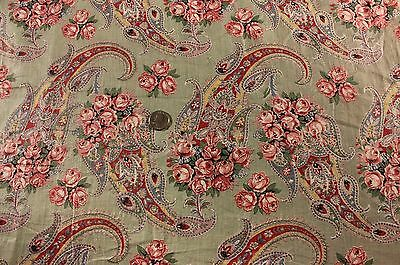 """Antique Paisley & Roses Dress Cotton Yardage c. 1910~3 yds 3""""L~Quilters,Sewing"""
