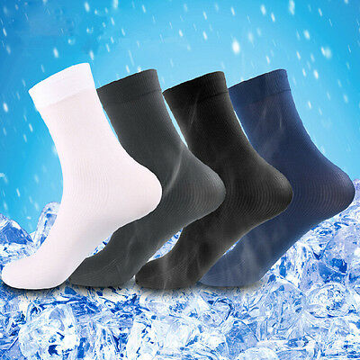6/12Pairs Mens Business Thin Soft Silk Stockings Dress Socks Solid sock Size7-9