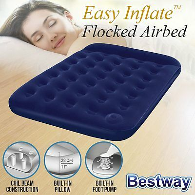 Bestway DOUBLE AIR BED Inflatable Mattress Built-in Foot Pump Pillow Camping