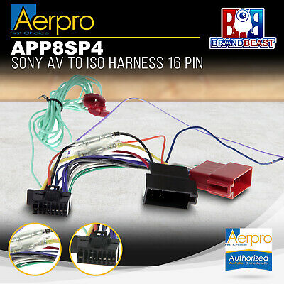 Aeropro Sony To Iso Connector Plug Harness 16 Pin For Xav-65 Unit Wiring Loom