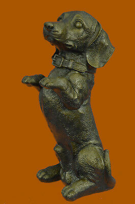 Large Playful Dachshunds Dog Breeder Bronze Sculpture Art Deco Statue Figurine