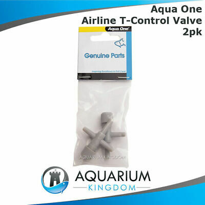 #10413 Aqua One Airline T Control Valve 2pk - Adjust Aquarium Air Line Flow Hose