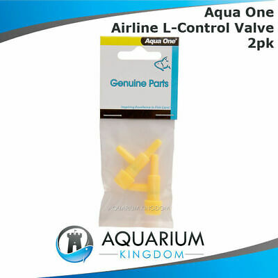 #10412 Aqua One Airline L Control Valve 2pk - Adjust Aquarium Air Line Flow Hose