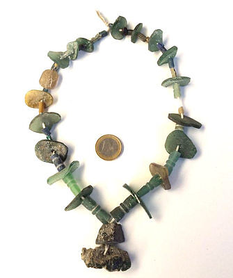 150 Bc Ancient Shard Art Of Roman Glass Beads 1 Strand Aqua Green Necklace Vtg