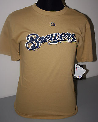 Milwaukee Brewers Ryan Braun  #8 Youth Xl 18/20 Gold Tee Shirt - Nwt - Licensed