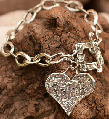 Love and Faith Sterling Silver Bracelet by Cathy Dailey