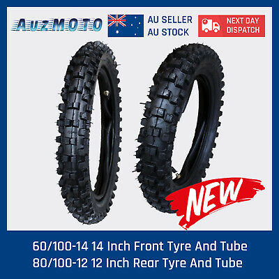 "80/100-12"" Rear 60/100-14 Inch Front Knobby Tyre/tire +Tube  Dirt Pit Trail Bike"