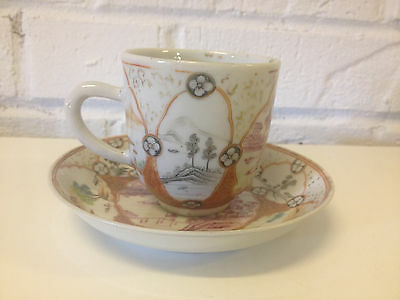 Antique Japanese Likely Meiji Period Porcelain Cup & Saucer Various Scenes