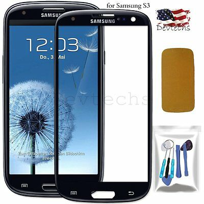 for Samsung Galaxy S3 i9300 Front Screen Glass Lens Replacement Repair Kit Black